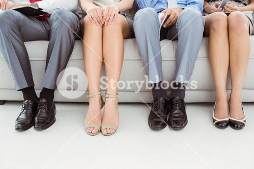Low section of executives waiting for interview