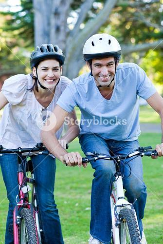 Animated couple riding a bike