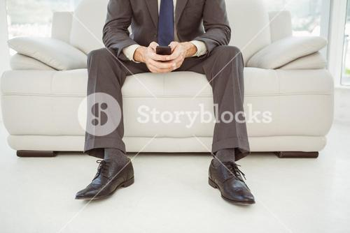Low section of businessman text messaging