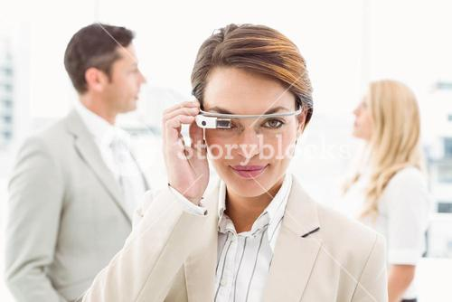 Woman smiling with Google glasses