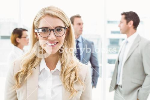 Woman wearing her Google glasses