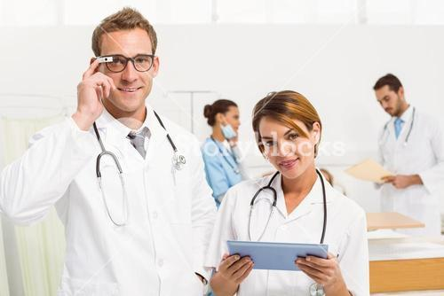 Doctor wearing new Google glasses