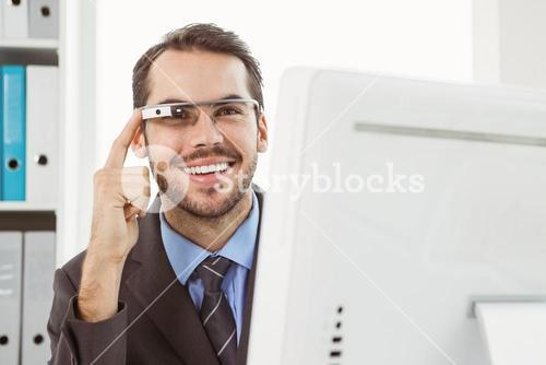 Businessman with his Google glasses