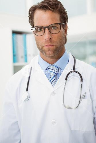 Doctor wearing his Google glasses