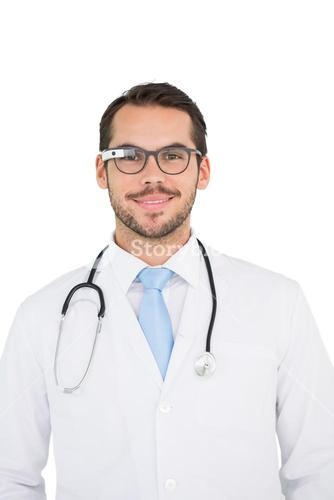 Young doctor using google glass