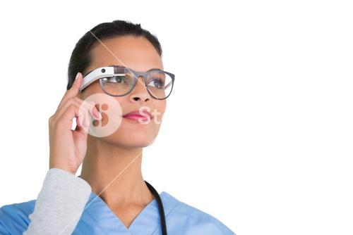 Young nurse using google glass