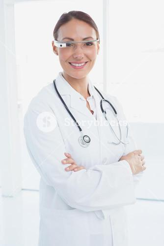 Doctor with her Google glasses