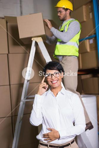 Businesswoman with Google glasses at work