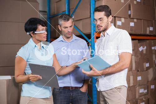 Business team discussing work details