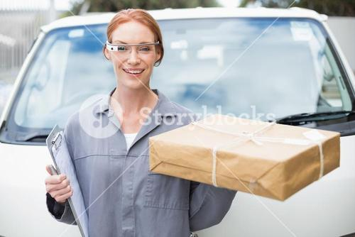 Woman courier delivery a package
