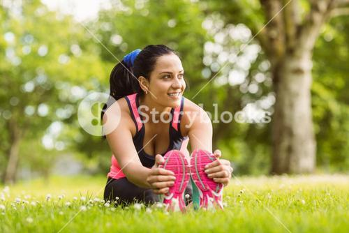Fit brown hair stretching on the grass