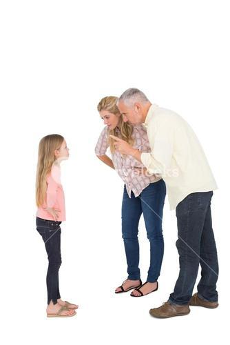 Parents telling off their bold daughter