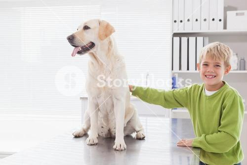 Cute dog with its cheerful owner