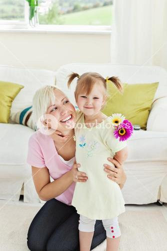 Blond woman get surprise by her daughter