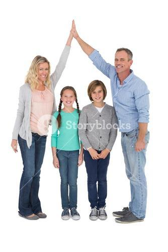 Unified couple high fiving each other with their child below