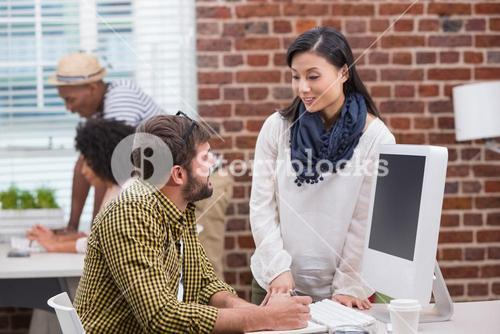 Casual business people in discussion
