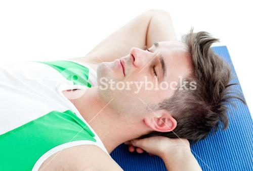 Relaxed man doing fitness