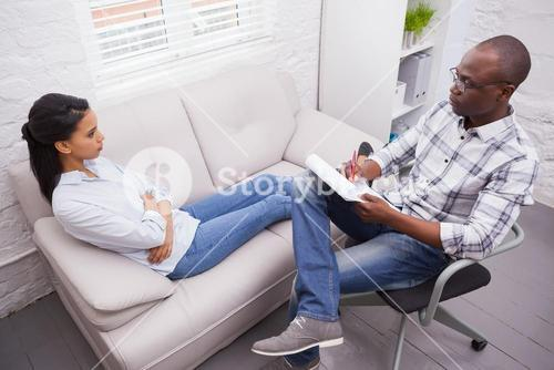 Woman talking to her psychologist