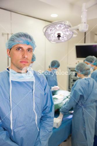 Medical student in surgical gear