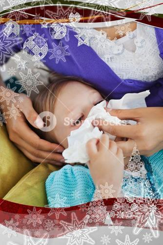 Mother taking care of her ill child
