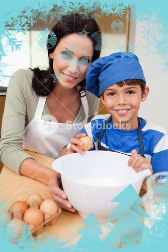 Son and mother baking cake