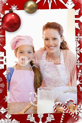 Mother and daughter preparing dough for cookies