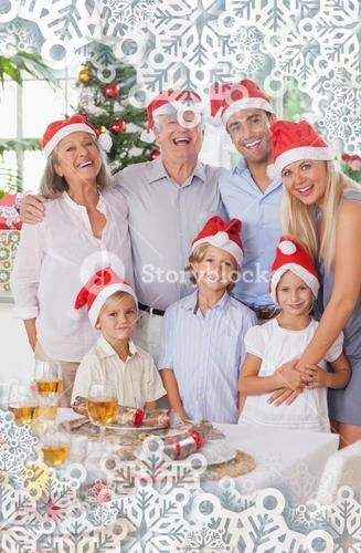 Composite image of smiling family at christmas