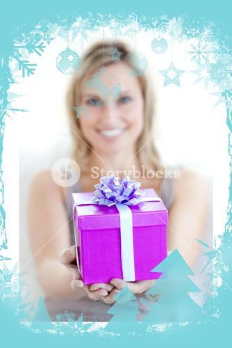 A charming woman is holding a present