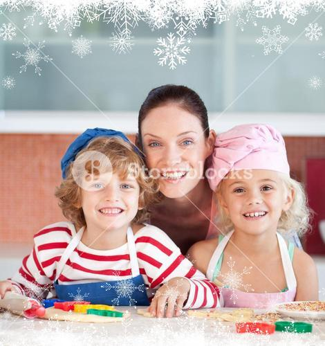 Radiant mother baking with her children