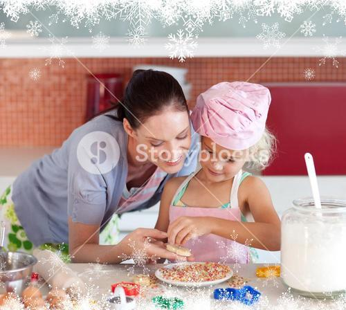 Young mother teaching child how to cook