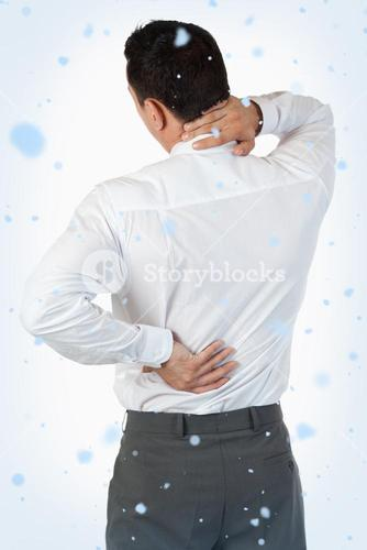 Portrait of the painful back of a businessman