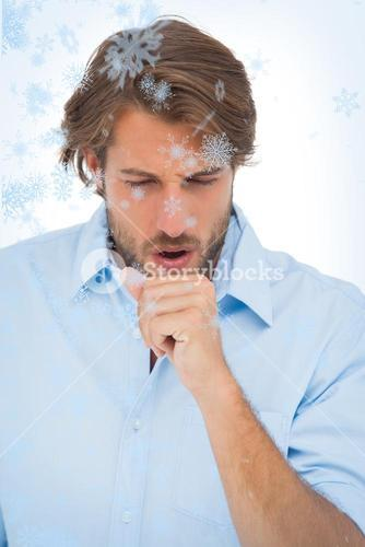 Tanned man having a coughing fit