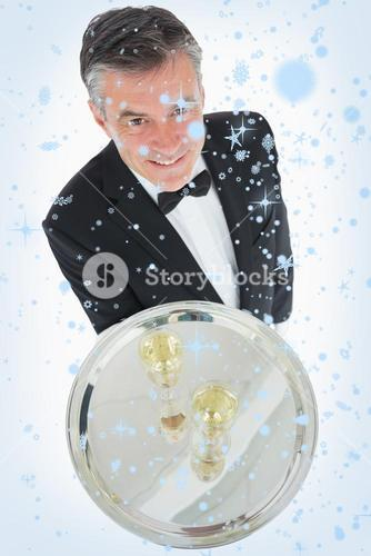 Waiter with silver tray of champagne
