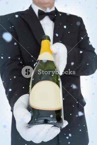 Composite image of open bottle of champagne