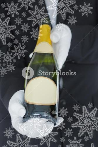 Close view of open bottle of champagne