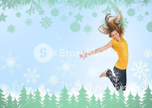 Pretty young woman jumping for joy