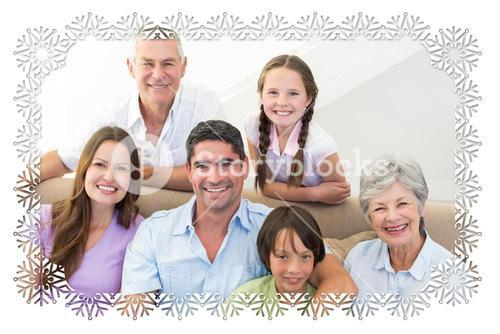 Composite image of smiling multigeneration family