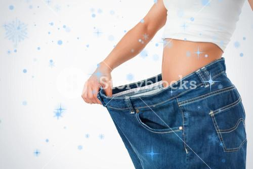 Woman wearing too large pants