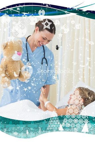 Composite image of playful doctor entertaining sick girl