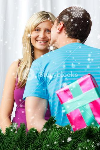 Man wait one kiss from his girlfriend