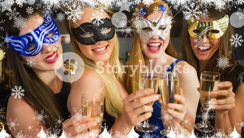 Composite image of smiling friends holding champagne glasses wearing masks