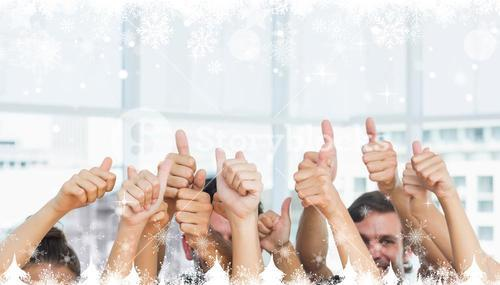 Composite image of closeup of cropped people gesturing thumbs up