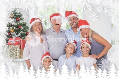 Composite image of family posing for photo