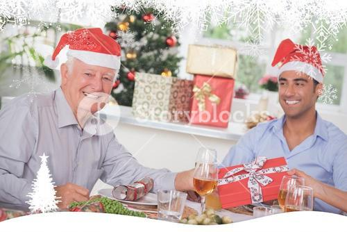 Composite image of family swapping christmas presents