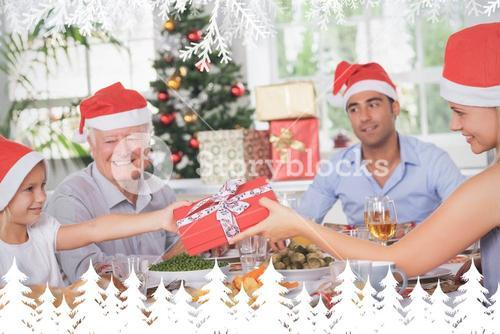 Composite image of mother giving daughter christmas present