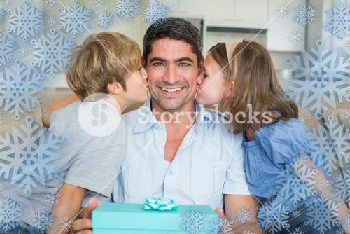 Composite image of children kissing on fathers cheeks