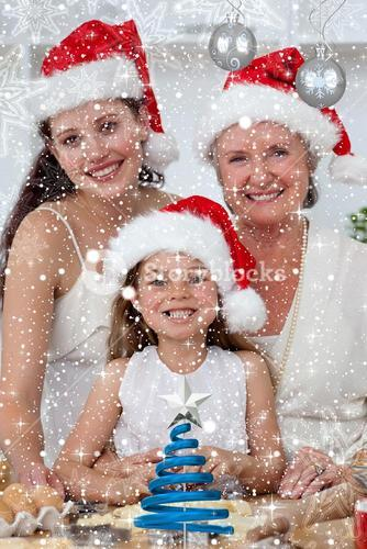 Composite image of daughter mother and grandmother baking christmas sweets