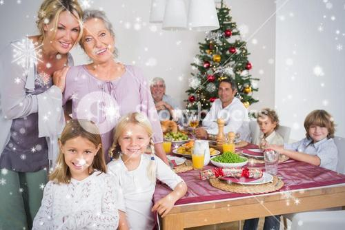 Composite image of three generations of women at christmas time