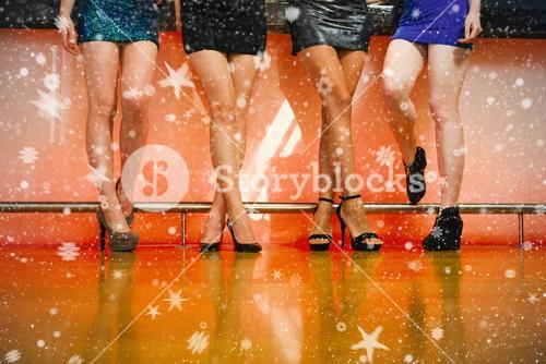 Composite image of young women legs posing