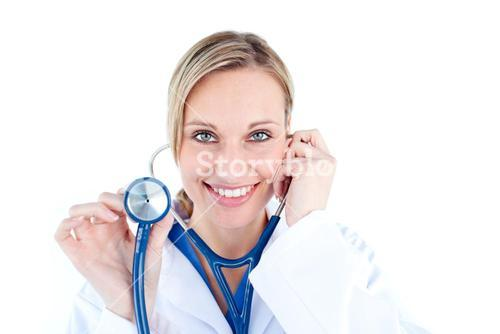 Pretty young female doctor holding a stethoscope